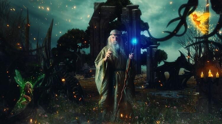 Druid Like Gandalf with Faeries
