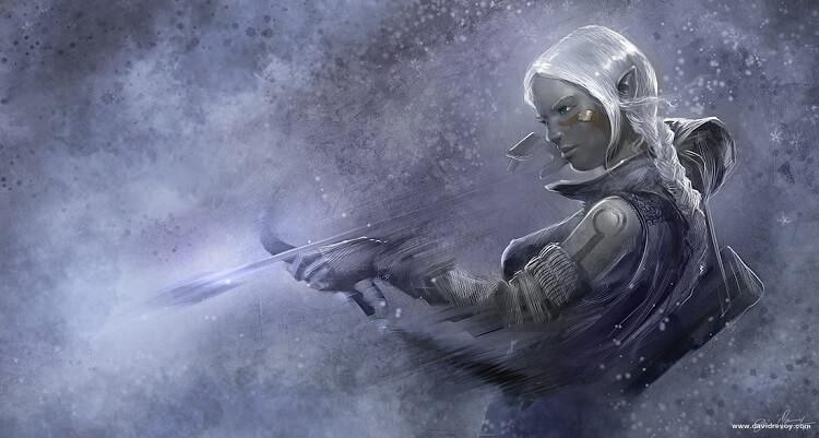 Female Drow Bow and Arrow