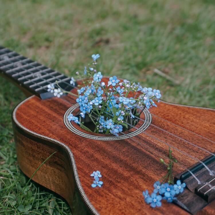 Guitar Blue Flowers