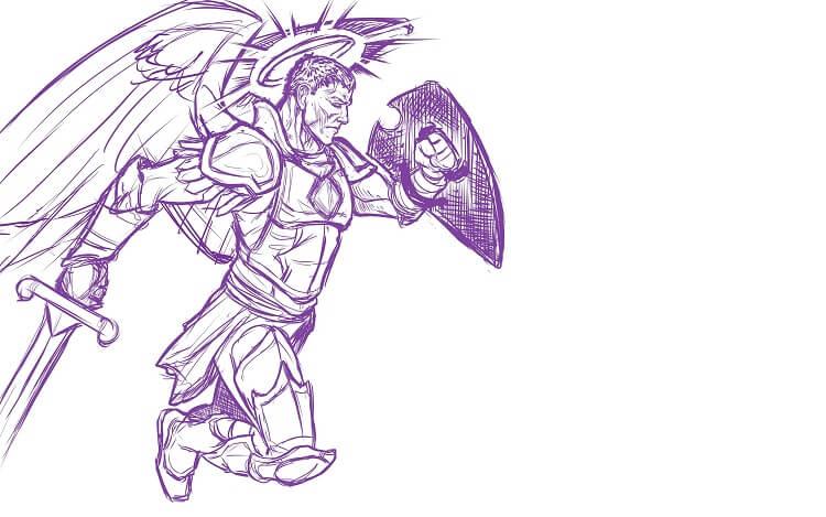 Male Aasimar Purple Sketch