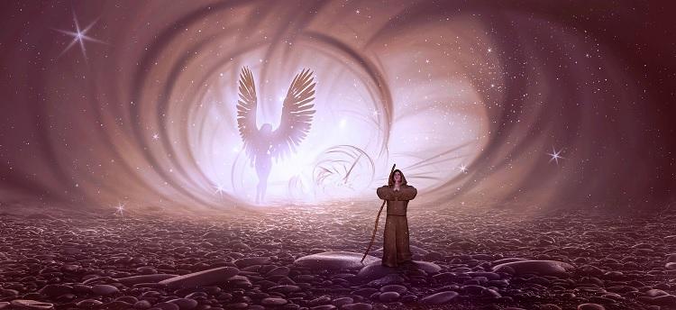 Monk Praying to Angel