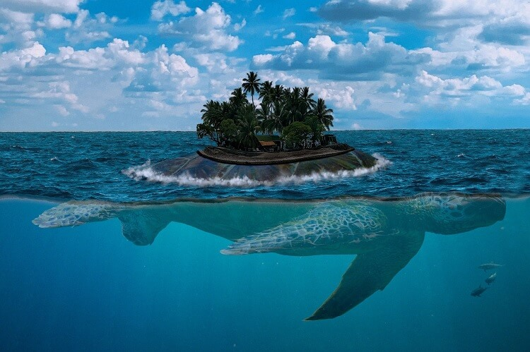 Mythical Island On Giant Turtle