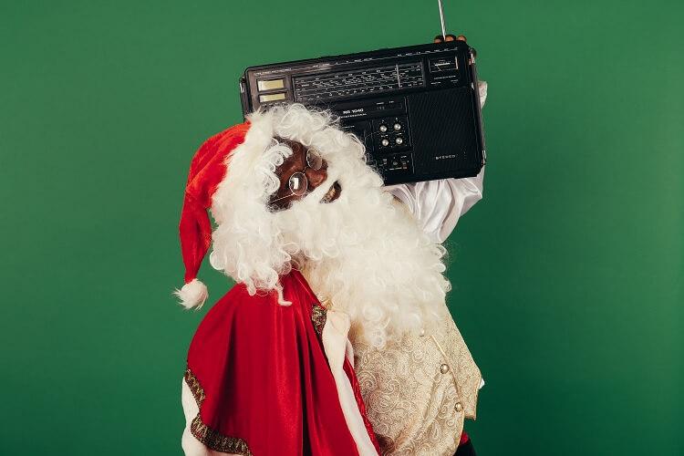 Santa Rocking His Playlist