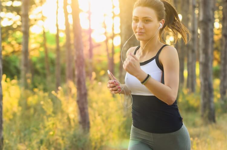 Woman Running with Music